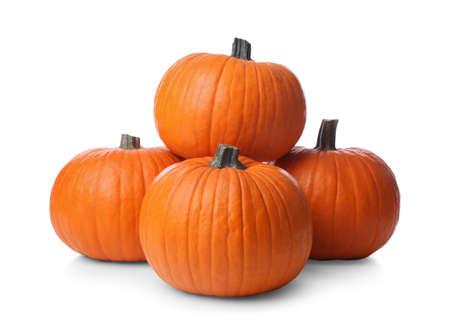 Photo pour Ripe orange pumpkins isolated on white. Halloween decor - image libre de droit