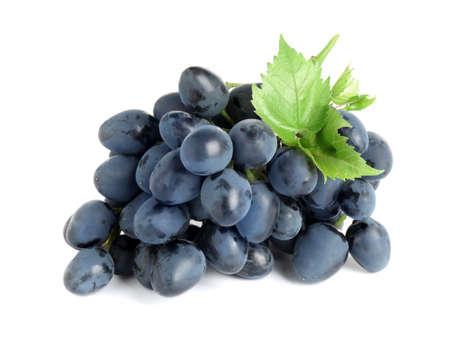 Foto für Bunch of dark blue grapes with green leaves isolated on white - Lizenzfreies Bild