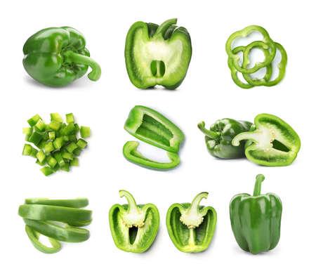 Foto für Set of cut and whole green bell peppers on white background - Lizenzfreies Bild