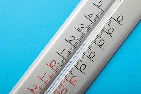 Photo for Weather thermometer on light blue background, closeup - Royalty Free Image