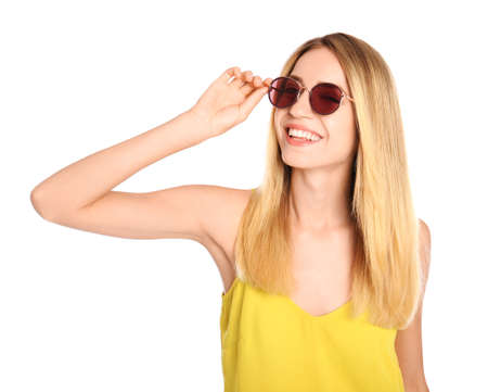 Photo for Beautiful woman in stylish sunglasses on white background - Royalty Free Image