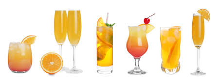 Photo for Set with delicious Mimosa cocktails on white background, banner design - Royalty Free Image