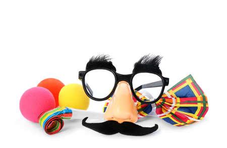 Photo pour Different funny clown's accessories on white background - image libre de droit