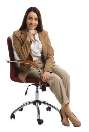 Photo pour Young businesswoman sitting in comfortable office chair on white background - image libre de droit