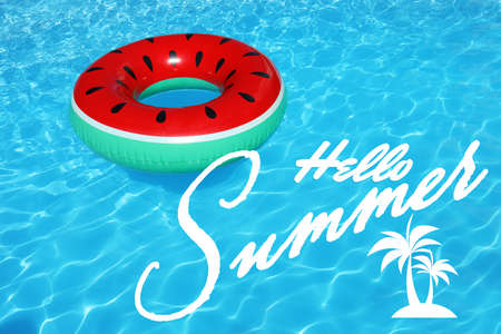 Photo pour Hello Summer. Inflatable ring floating in swimming pool on sunny day - image libre de droit