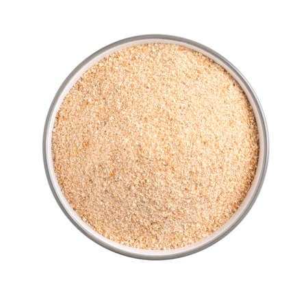 Photo pour Fresh bread crumbs in bowl isolated on white, top view - image libre de droit