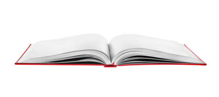 Photo for Open book with red cover on white background - Royalty Free Image