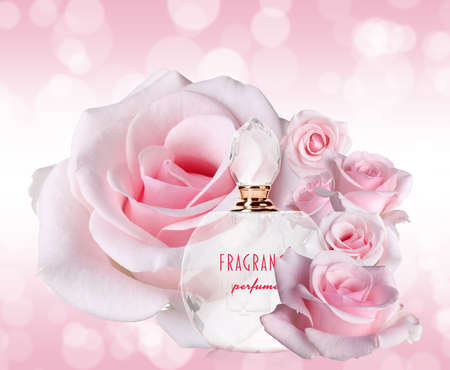 Photo for Bottle of luxury perfume and beautiful roses on pink background - Royalty Free Image