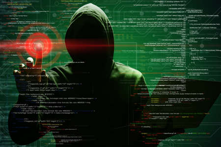 Photo for Man with laptop and digital code on dark background. Cyber attack concept - Royalty Free Image
