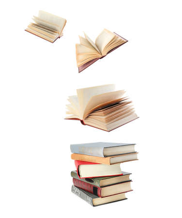 Photo for Stacked and flying books on white background, collage - Royalty Free Image