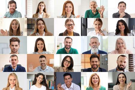 Foto de Group of people attending webinar. Video conference - Imagen libre de derechos