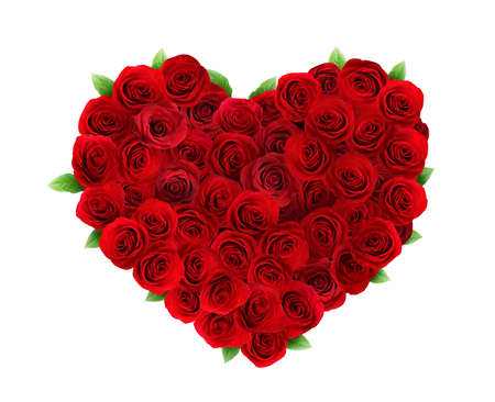 Photo pour Heart made of beautiful red roses on white background - image libre de droit
