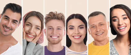 Photo for Collage with photos of happy smiling people on beige background. Banner design - Royalty Free Image