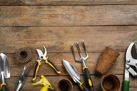 Photo for Flat lay composition with gardening tools on wooden background, space for text - Royalty Free Image