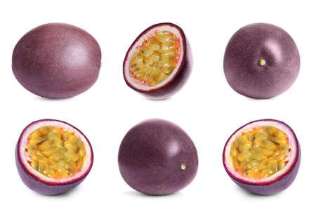 Photo pour Set with delicious passion fruits on white background - image libre de droit