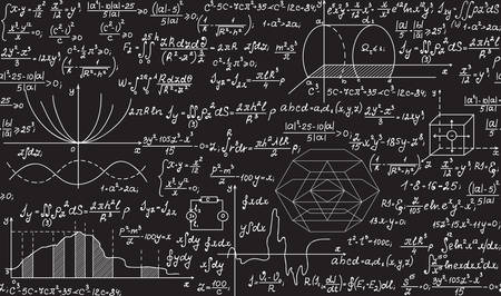 Illustration pour Physical vector seamless pattern with formulas, plots, equations, handwritten with chalk on a grey board - image libre de droit