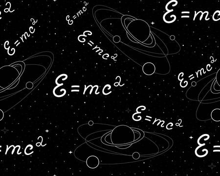 Space vector seamless pattern with physical speed of light formula, planets with satellites, stars and constellations. Endless texture. You can use any color of background