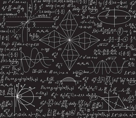 Illustration for Math vector seamless pattern with algebra and geometry formulas handwritten on a grey chalkboard - Royalty Free Image