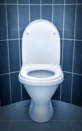 Foto de Toilet in the bathroom. Toned in cold colors. - Imagen libre de derechos