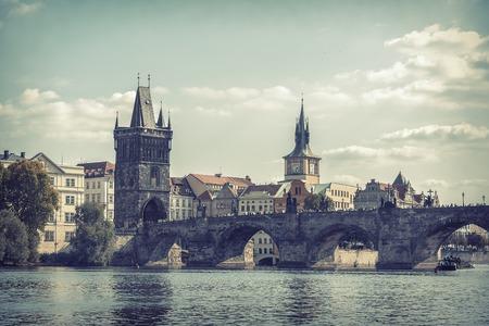 View on Charles Bridge in Prague, Czech Republic. Toned photo.