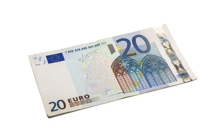 Twenty euro banknote isolated on white background with clipping path.