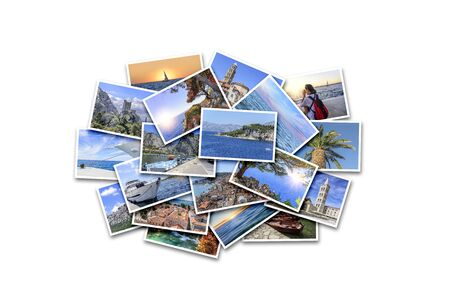 Foto de Sea vacation, travel and interesting places in the summer. Collage of photos on white background. - Imagen libre de derechos