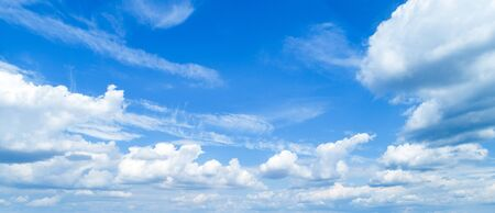 Photo for Beautiful sky with white cumulus clouds as a background. - Royalty Free Image