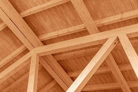 Photo for Wooden roof structure. Glued laminated timber roof. - Royalty Free Image