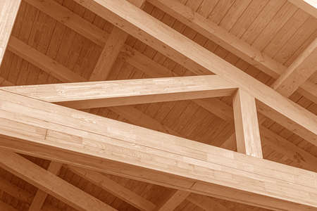 Photo pour Wooden roof structure. Glued laminated timber roof. - image libre de droit