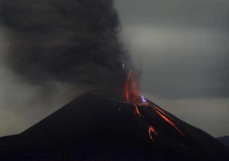 Night volcano eruption  Anak Krakatau, Indonesia