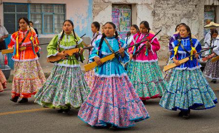 Photo pour Tamazulapam del Progreso, Mexico - 20 November, 2016: Children on Parade on Mexico Revolution Day. - image libre de droit