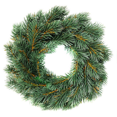 Green round Christmas wreath isolated on white background