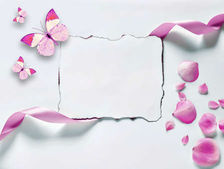 Vintage background with paper-frame and petals for congratulations and invitations