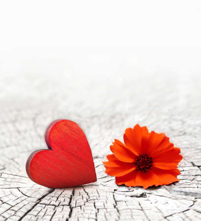 red wooden heart on a cracked wooden background and flower