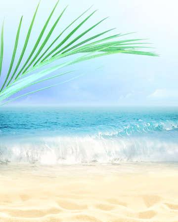 Foto de Summer beach background. Sand, palm leaf, sea and sky. Summer concept - Imagen libre de derechos