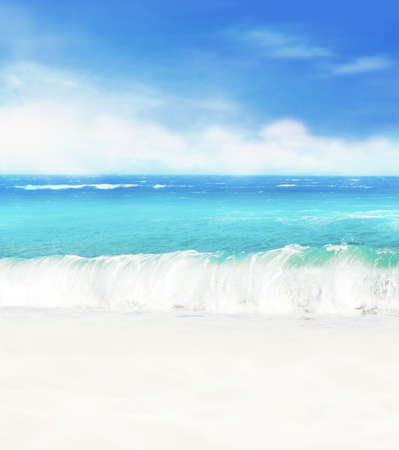 Photo for Summer background. White sand beach on a background of blue sea and blue sky. - Royalty Free Image