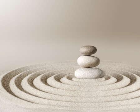Foto de Japanese zen garden meditation stone, concentration and relaxation sand and rock for harmony and balance. - Imagen libre de derechos
