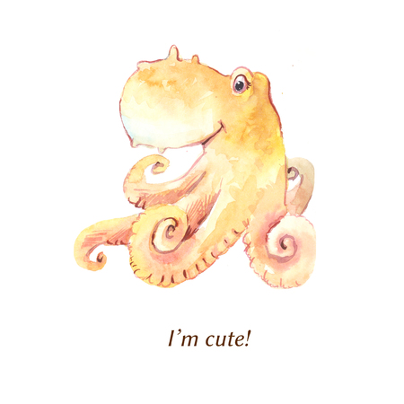 Yellow octopus by watercolor. Cute caracter suitable for children's goods, sticker, print on t-shirt and other. Sketch isolated on white.