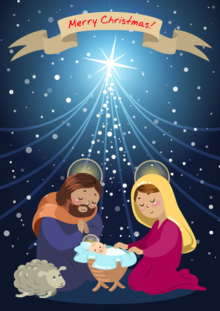 Illustration pour Holy family of the nativity or birth of Jesus. - image libre de droit