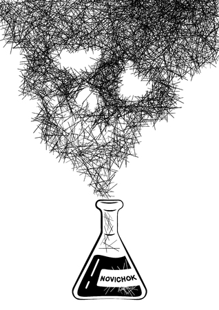 Chemical test tube with a smoke in the form of an abstract skull. Inspiration Novichok. Translate newbie. The concept of poisonous gas