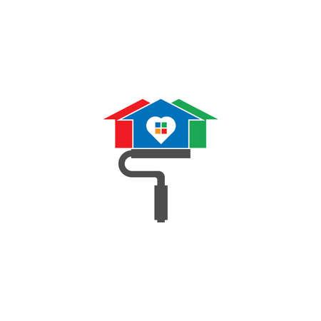 Illustration for House paint logo icon illustration - Royalty Free Image