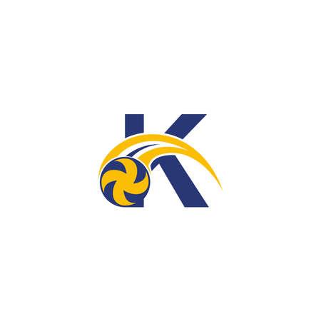 Illustration pour letter K with smashing volley ball icon logo design template illustration - image libre de droit