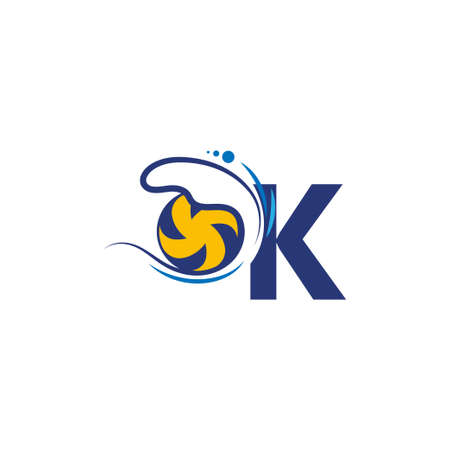 Illustration pour Letter K logo and volleyball hit into the water waves vector - image libre de droit