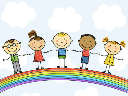 Funny kids on a rainbow. Vector illustration.