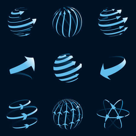 Global arrow icons. Vector illustration.