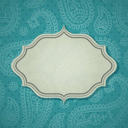 Frame in the Indian style in the background with paisley pattern.