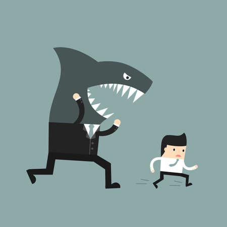 Illustration pour Business situation. The worker runs away from a screaming boss. Vector illustration. - image libre de droit