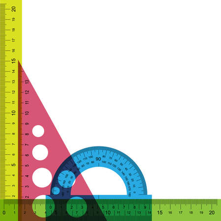 Ruler, protractor and triangle with simulated transparency. Does not contain any transparent elements.
