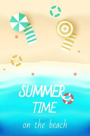 Illustration pour It's Summer Time on the beach vector illustration - image libre de droit