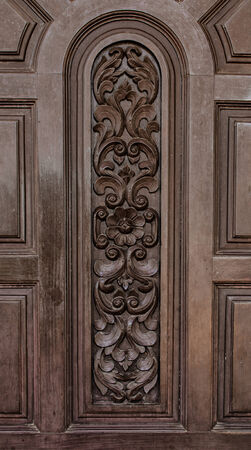 old wooden door background in general house at Thailand